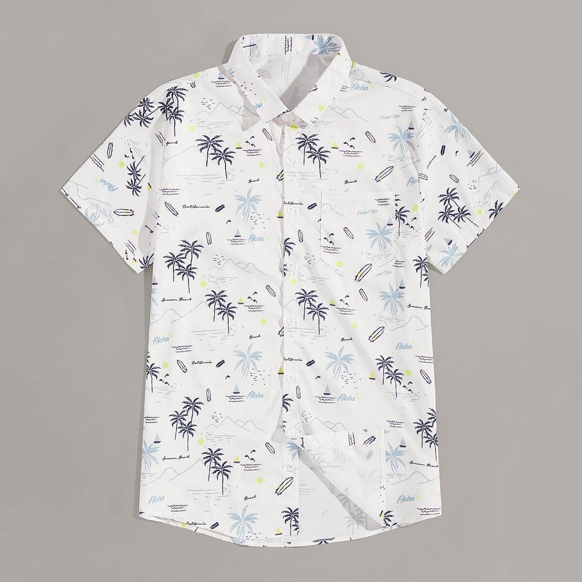 Wit Boho Tekst Overhemden voor heren