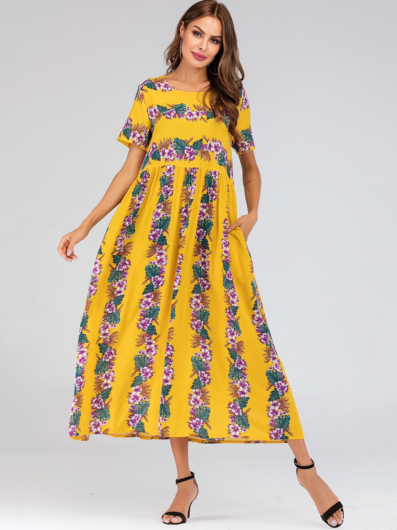 Фото - Длинное платье с цветочным принтом и карманом от SheIn цвет жёлтые