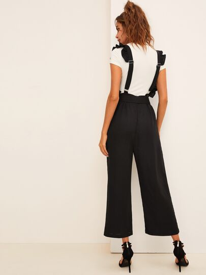 Ruffle Trim Belted Wide Leg Jumpsuit