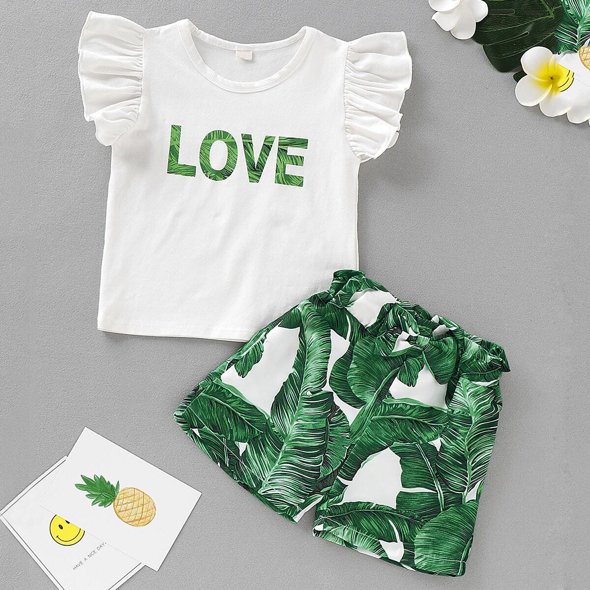 SHEIN / Kleinkind Mädchen T-Shirt mit Buchstaben Muster, Raffung auf den Ärmeln und Shorts mit Pflanzen Muster