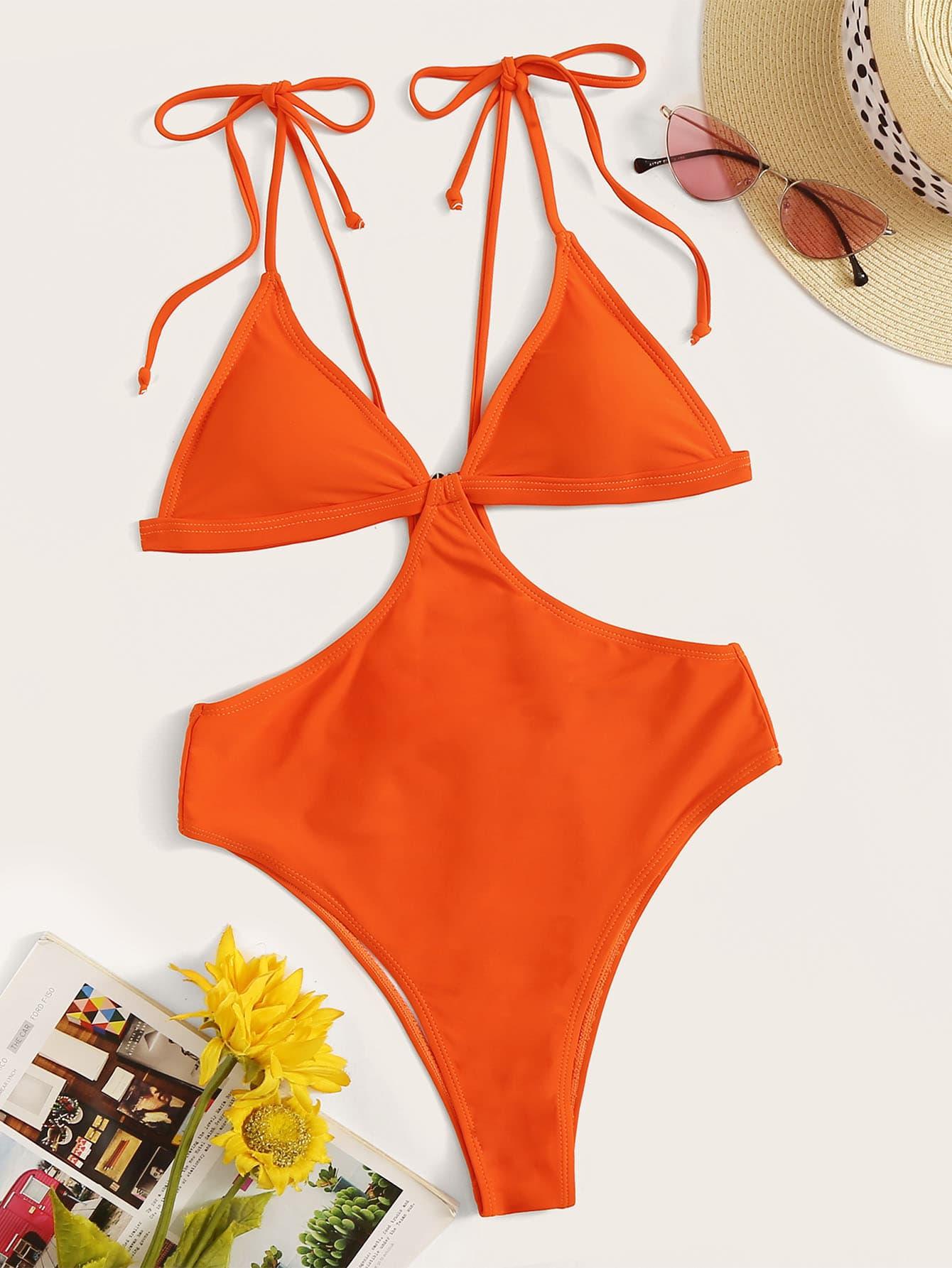 Фото - Купальник с завязками на плечах и разрезом по бокам от SheIn оранжевого цвета