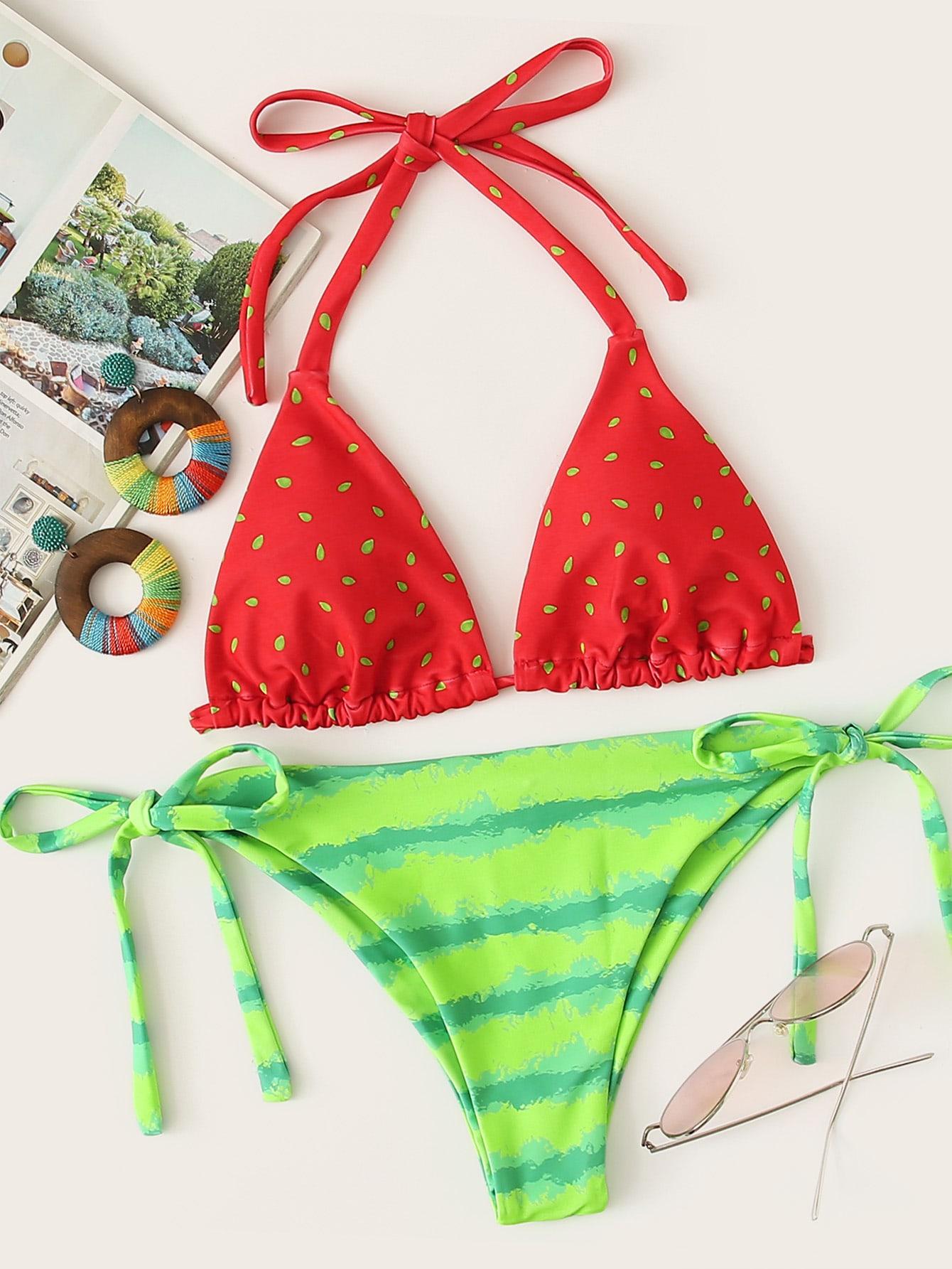Фото - Бикини с арбузным принтом и завязками по бокам от SheIn цвет многоцветный
