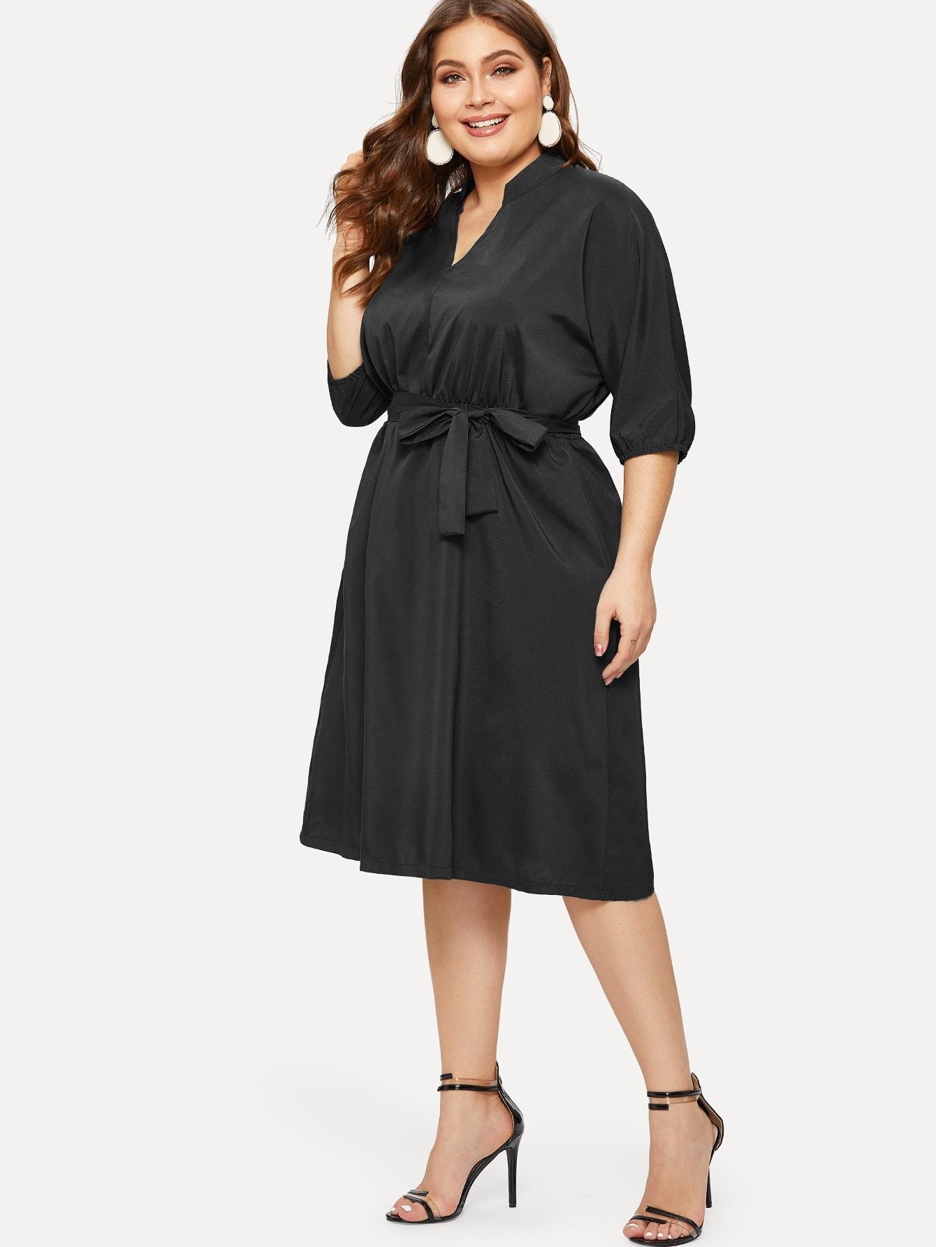 Фото - Платье размера плюс с v-образным вырезом от SheIn цвет чёрные