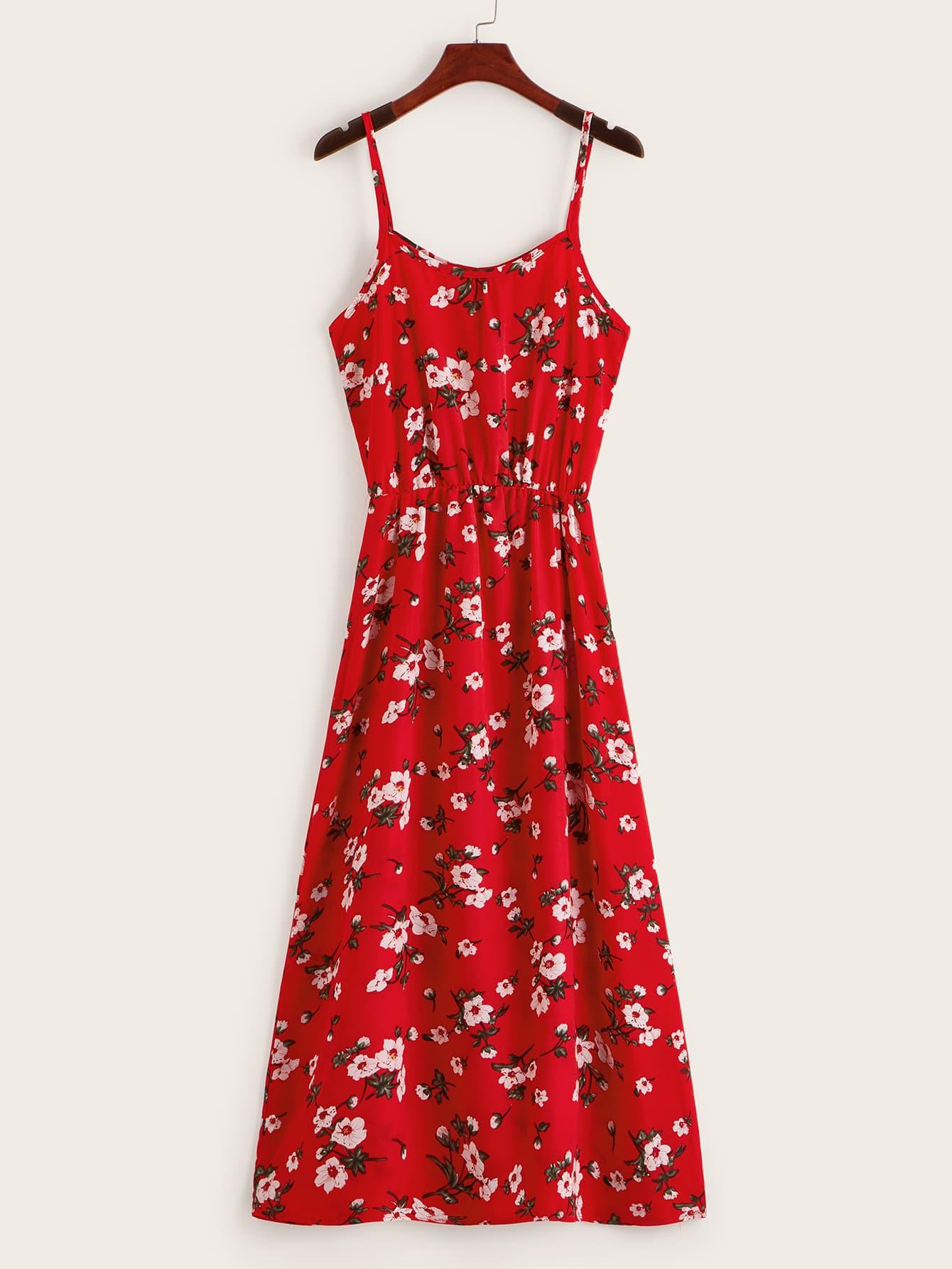 Фото - Цветочное платье на бретелях от SheIn цвет красные