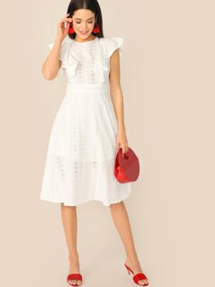 Ruffle Trim Schiffy Fit & Flare Dress