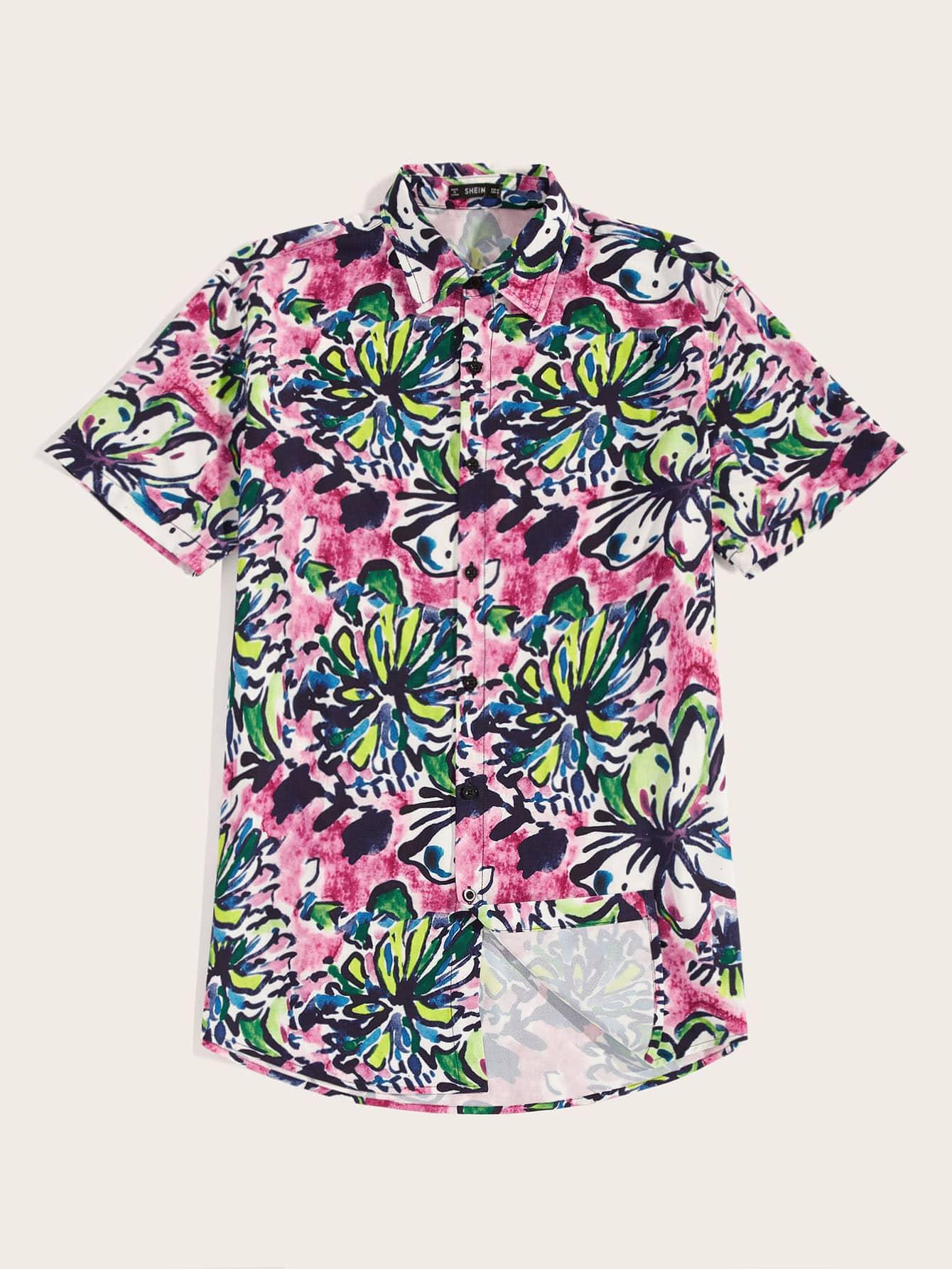 Фото - Мужская рубашка с цветочным принтом от SheIn цвет многоцветный