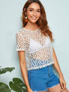Keyhole Back Embroidered Mesh Top Without Bra