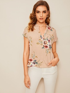 V-placket High Low Floral Top