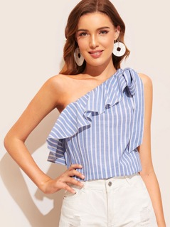Knotted Flounce One Shoulder Striped Top