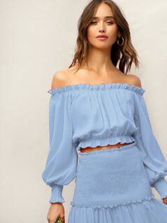 Frilled Off Shoulder Lantern Sleeve Top