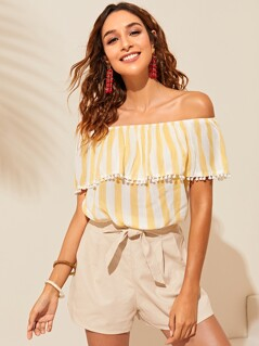 Off Shoulder Pompom Trim Striped Top