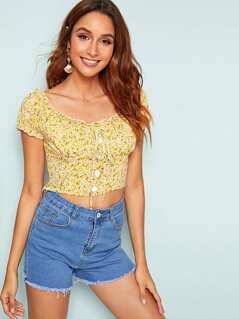 Frill Trim Button & Knot Front Ditsy Floral Top