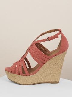 Woven Cut Out Straps Platform Wedge Sandals