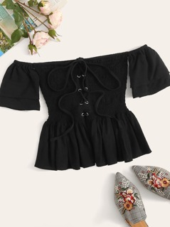 Lace Up Shirred Ruffle Hem Bardot Top