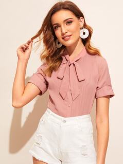 Tie Neck Pleated Front Shirt