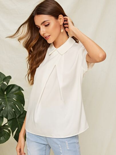 SheIn / Fold Pleat Front Collar Neck Top