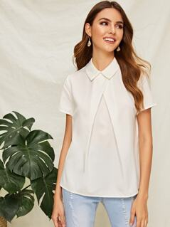 Fold Pleat Front Collar Neck Top