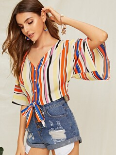 Color-block Striped Knotted Front Shirt