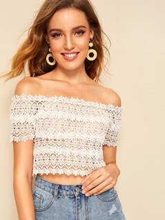 Off Shoulder Guipure Lace Crop Top