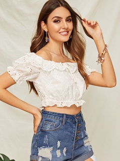 Ruffle Trim Off Shoulder Schiffy Top