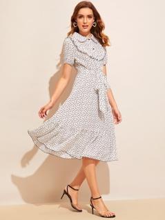 Allover Heart Print Ruffle Hem Belted Dress