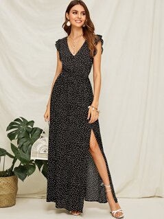 Polka-dot Ruffle Armhole Split Thigh Maxi Dress