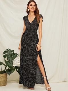 Polka-dot Ruffle Armhole Split Thigh Maxi Dress