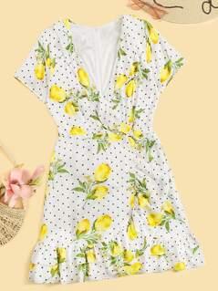 Polka-dot & Lemon Ruffle Trim Dress With Wrap Skirt