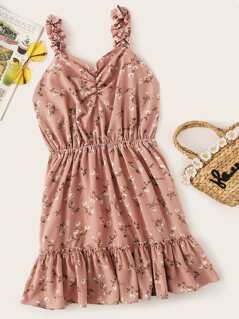 Frilled Strap Ditsy Floral Flounce Hem Dress