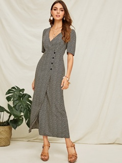 Ditsy Floral Buttoned Wrap Longline Dress