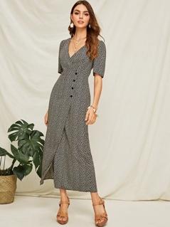 Ditsy Floral Buttoned Wrap Longline Dress