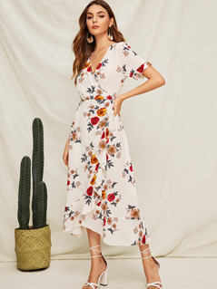 Flower Print Ruffle Hem Wrap Knotted Dress