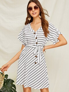 Striped Button Front Layered Sleeve Belted Dress