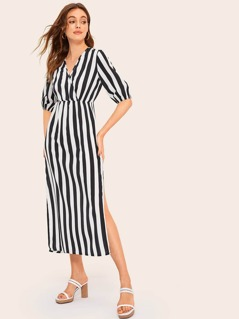 M-slit Hem Surplice Neck Striped Dress
