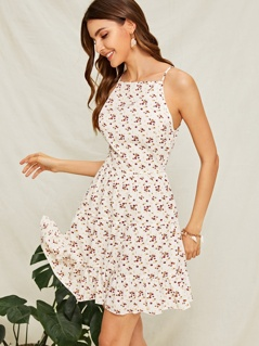 Ditsy Floral Print Ruffle Hem Dress