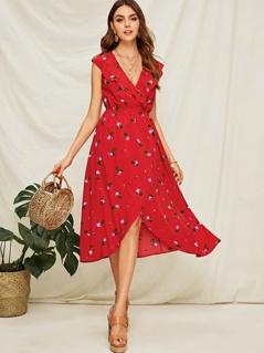 Ruffle Trim Floral Print Wrap Dress