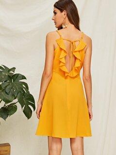 Ruffle Trim Surplice Neck Sun Dress