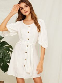 Solid Button Front Belted Dress