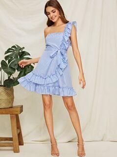 Striped One Shoulder Ruffle Trim Belted Dress