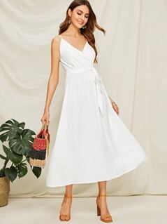 Surplice Neck Belted Longline Slip Dress