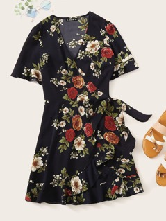 Floral Print Ruffle Hem Wrap Knotted Dress