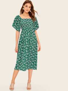 Ditsy Floral Print Square Neck Shirred Dress