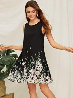 Flower & Leaf Print Trapeze Dress