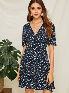 Ditsy Floral Surplice Neck Knotted Dress