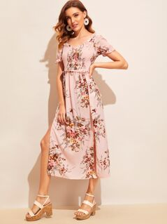 Floral Print M-slit Hem Frill Trim Shirred Dress