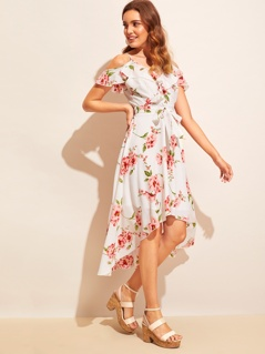 Floral Print Cold Shoulder High Low Hem Belted Dress