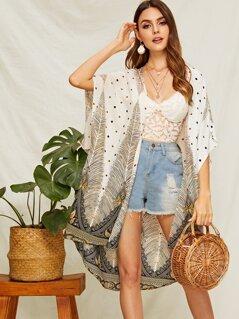 Polka-dot & Feather Print Kimono