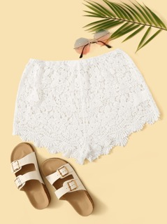 Solid Sheer Guipure Lace Shorts