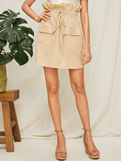 Paperbag Waist Flap Pocket Skirt