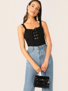 Lace-up Neck Rib-knit Slim Fitted Bodysuit